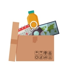 silhouette of box with objects to vacation vector image