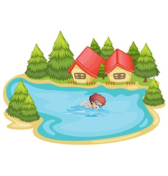 A beach near the pine trees with a boy swimming vector image vector image