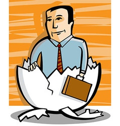 Businessman comes out of an egg vector image