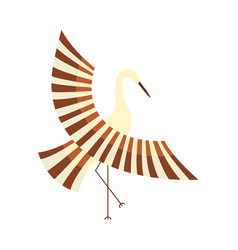 flat cartoon japan crane flapping wings vector image