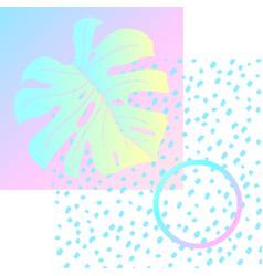 geometric poster monstera memphis in vaporwave vector image vector image