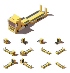 isometric truck with lowboy semi-trailer vector image