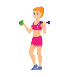 sport women with green apple vector image