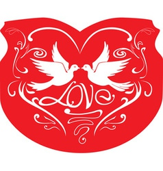 Valentine card with decorative birds vector image