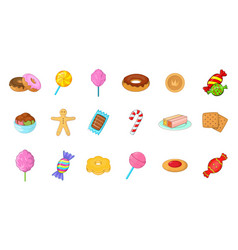 candy icon set cartoon style vector image