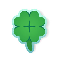 colorful green clover sticker vector image