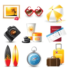 highly detailed travelling icons set vector image vector image