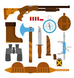 Hunting icons flat set with knife axe shotgun case vector