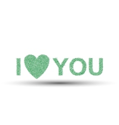 I LOVE YOU VALENTINES DAY GRASS GREEN vector image vector image