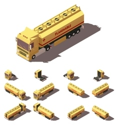isometric truck with liquid tank semi vector image vector image