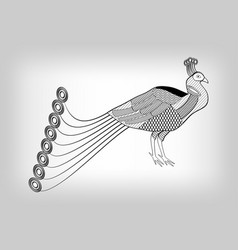 peacock black and white stylized ornamental vector image vector image