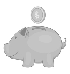 Piggy bank with coin icon black monochrome style vector image vector image