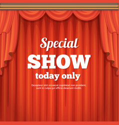 poster with theater stage and red curtain cartoon vector image