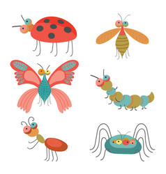 set of funny colorful bugs on vector image vector image