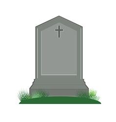 Grey gravestone with cross vector