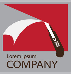 logo cutter knife vector image vector image