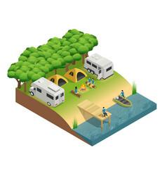 recreational vehicles at lake isometri vector image vector image