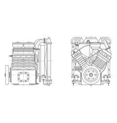 sketch internal combustion engine vector image
