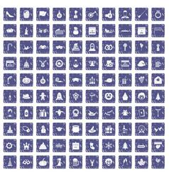 100 holidays icons set grunge sapphire vector image