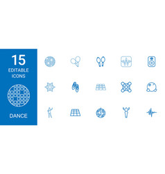 15 dance icons vector image