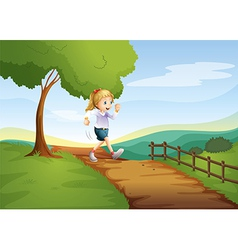 A young lady running hurriedly vector