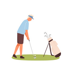 active male golfer hitting ball with club vector image