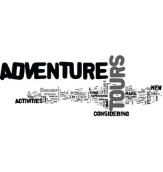 Adventure tours text word cloud concept vector