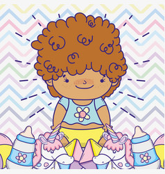 Baby boy with feeding bottles and toys vector