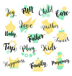 Baby shop hand drawn logo set vector