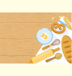 Baked Products And Cooking Tools Composition vector