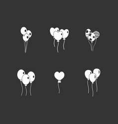 Ballons icon set grey vector