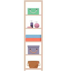 Bathroom interior furniture wardrobe with shelf vector