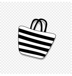 Beach striped womens bag icon isolated on vector