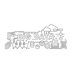 big data line art design black and white vector image