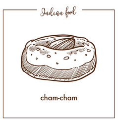 Big soft cham cham with almond from indian food vector