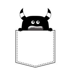 Black monster silhouette in pocket holding vector