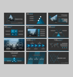 Blue bundle presentation infographic template vector