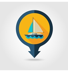 Boat with Sail pin map flat icon Summer Vacation vector image