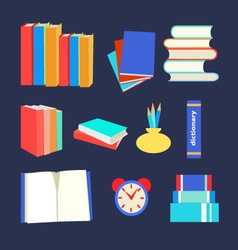 books set icon in flat design style vector image