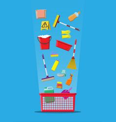 bottle of detergent sponge soap and rubber gloves vector image