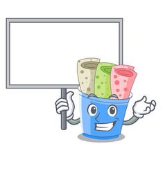bring board rolled ice creams in cartoon cups vector image