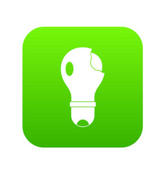 broken lightbulb icon digital green vector image