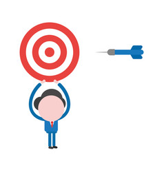 businessman character holding up bulls eye with vector image