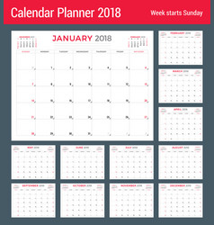 Calendar planner for 2018 year design template vector