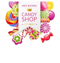 Candy shop label with type design and candies vector
