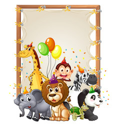 canvas wooden frame template with wild animals in vector image