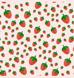 cartoon fresh strawberry fruits in flat style vector image