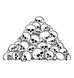 Cartoon pile or heap human skulls vector