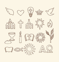 Christian symbols and icons drawn by hand vector
