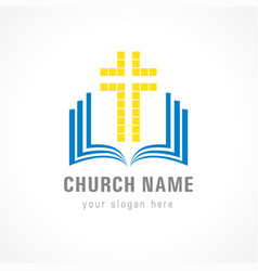 Church cross bible logo vector